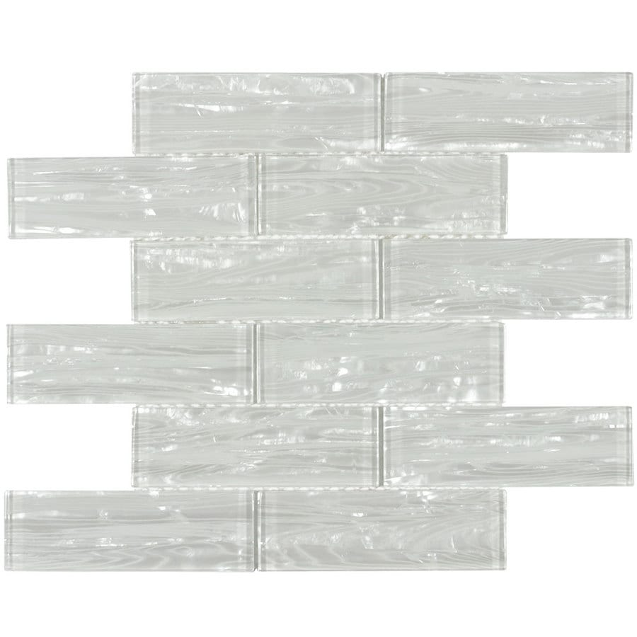 allen + roth Dry Dune Pearl Subway Mosaic Glass Wall Tile (Common: 12-in x 12-in; Actual: 11.75-in x 11.75-in)