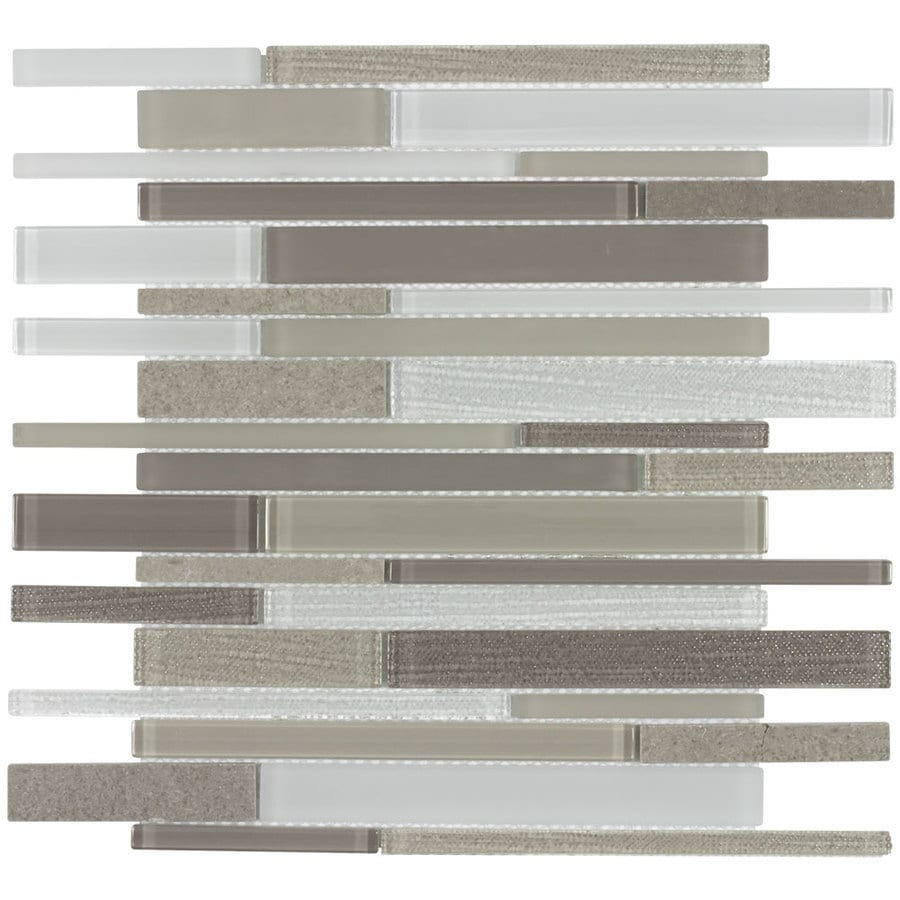 allen + roth Desert Bluff Linear Mosaic Stone and Glass Marble Wall Tile (Common: 12-in x 12-in; Actual: 12.75-in x 11.75-in)