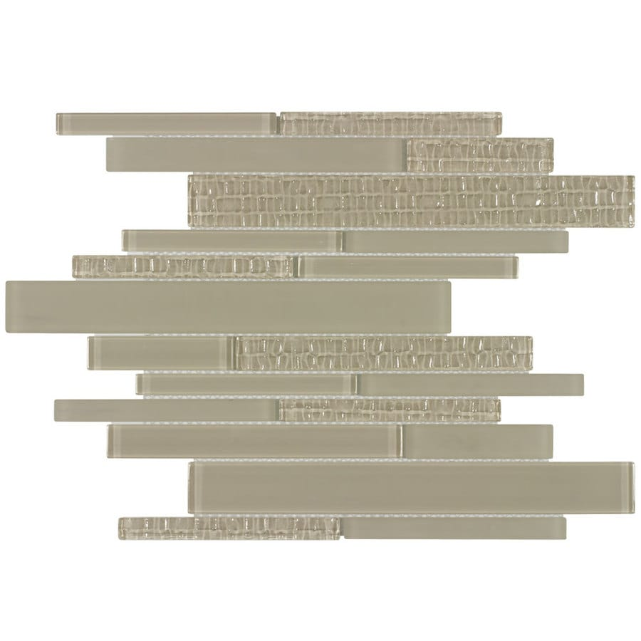 allen + roth Durium Linear Mosaic Glass Wall Tile (Common: 12-in x 12-in; Actual: 11.35-in x 11.75-in)