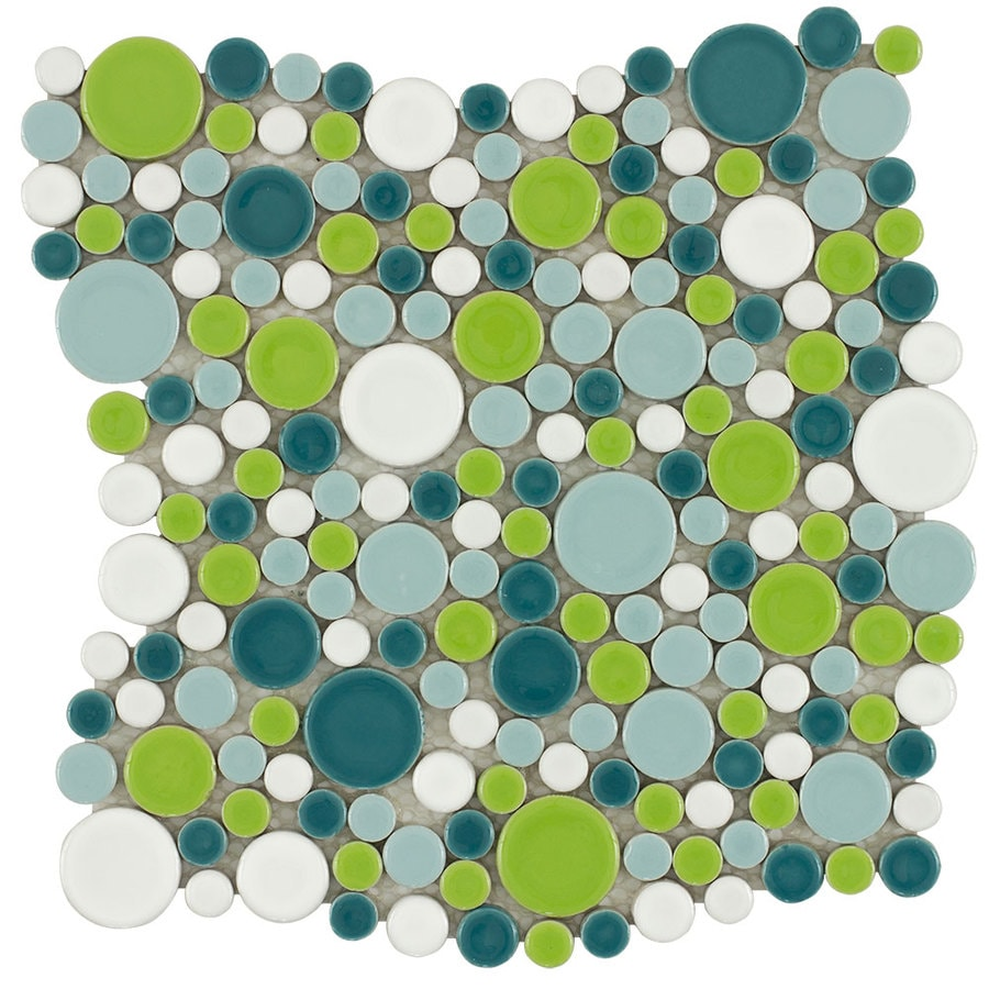 Elida Ceramica Rounded Colors Circular Mosaic Porcelain Wall Tile (Common: 11-in x 11-in; Actual: 10.8-in x 10.748-in)