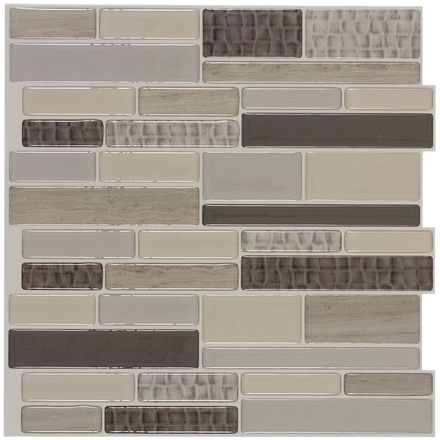 Peel&Stick Mosaics Caiman Linear Mosaic Composite Wall Tile (Common: 10-in x 10-in; Actual: 9.4-in x 10-in)