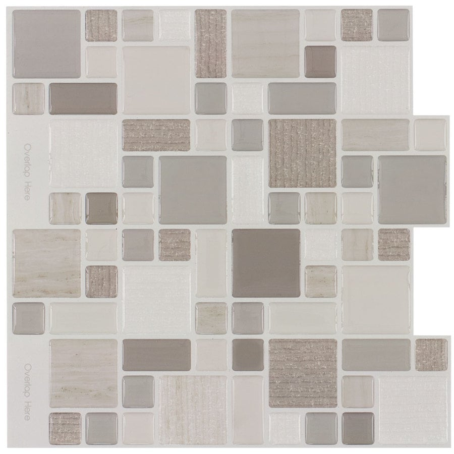Peel&Stick Mosaics Cafe Cubes Mosaic Composite Wall Tile (Common: 10-in x 10-in; Actual: 9.4-in x 10-in)
