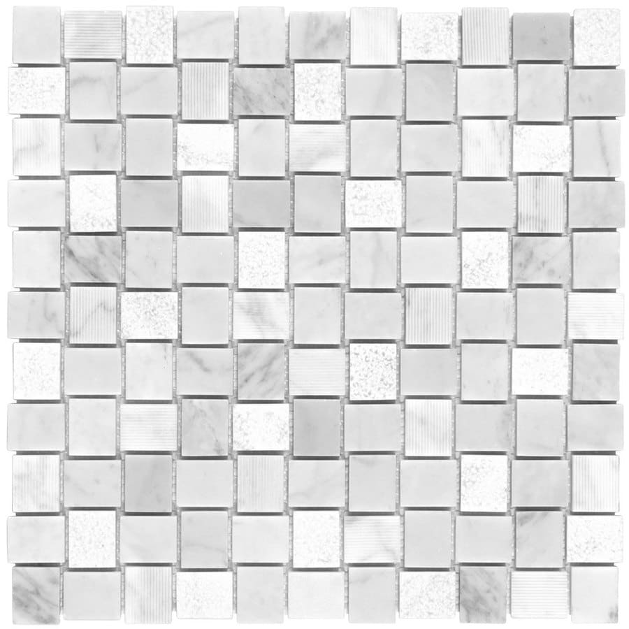 Elida Ceramica Bianca Stone Basketweave Mosaic Marble Wall Tile (Common: 12-in x 12-in; Actual: 11.75-in x 11.75-in)