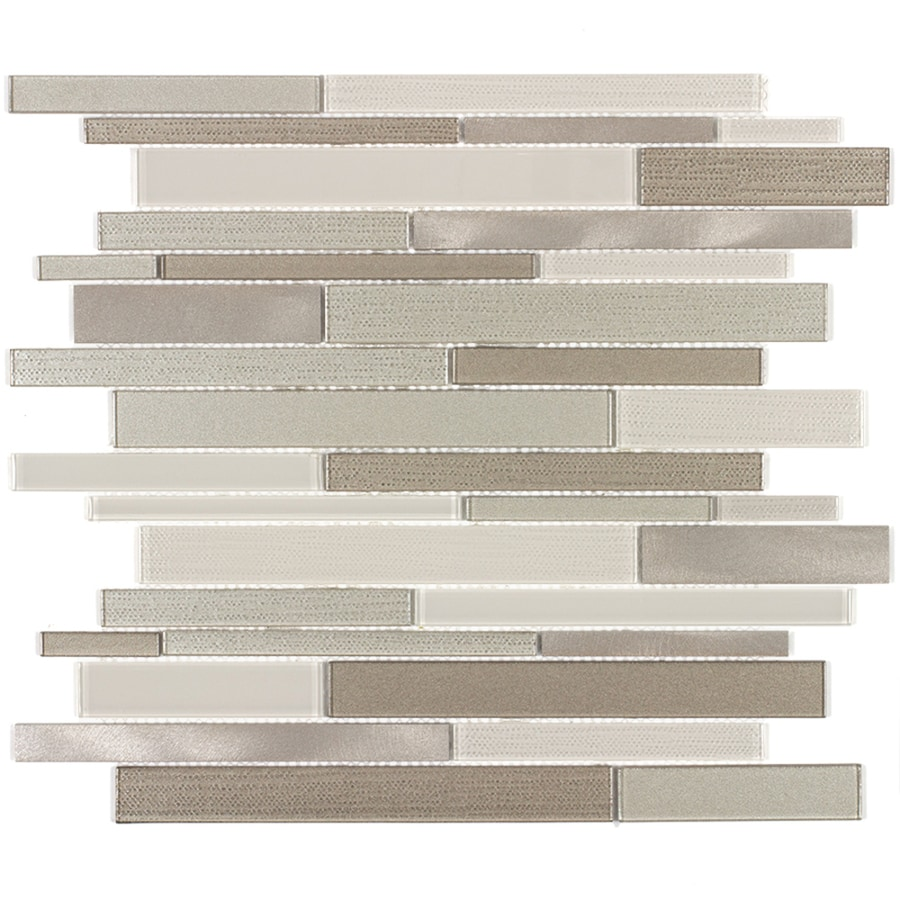 Elida Ceramica Coquina Linear Mosaic Glass and Metal Wall Tile (Common: 12-in x 12-in; Actual: 11.57-in x 11.733-in)