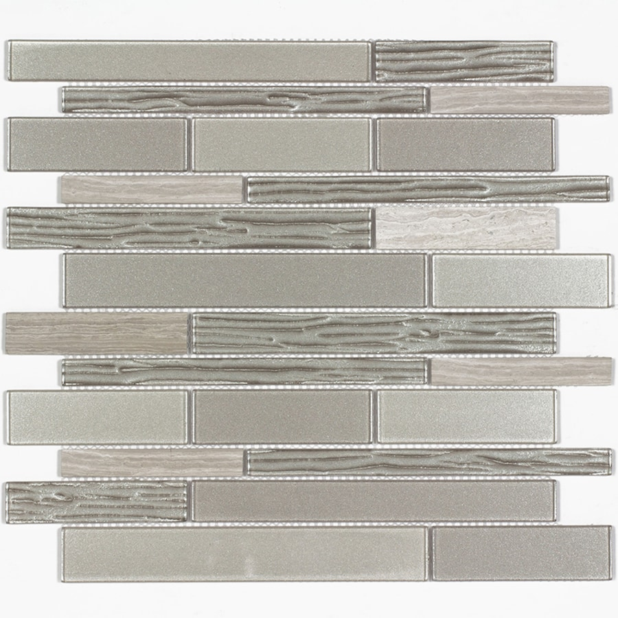 Elida Ceramica Sierra Linear Mosaic Stone and Glass Marble Wall Tile (Common: 12-in x 12-in; Actual: 11.57-in x 11.733-in)