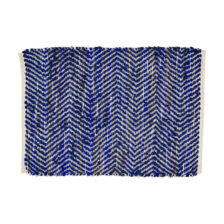 Best Selling Home Decor Bernette 2 X 3 Blue And Silver Indoor Chevron Handcrafted Area Rug In The Rugs Department At Lowes Com