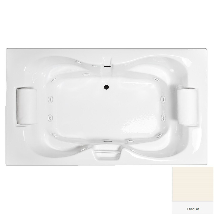 Laurel Mountain Seneca Iii 2-Person Biscuit Acrylic Hourglass In Rectangle Whirlpool Tub (Common: 48-in x 72-in; Actual: 23-in x 48-in x 72-in)