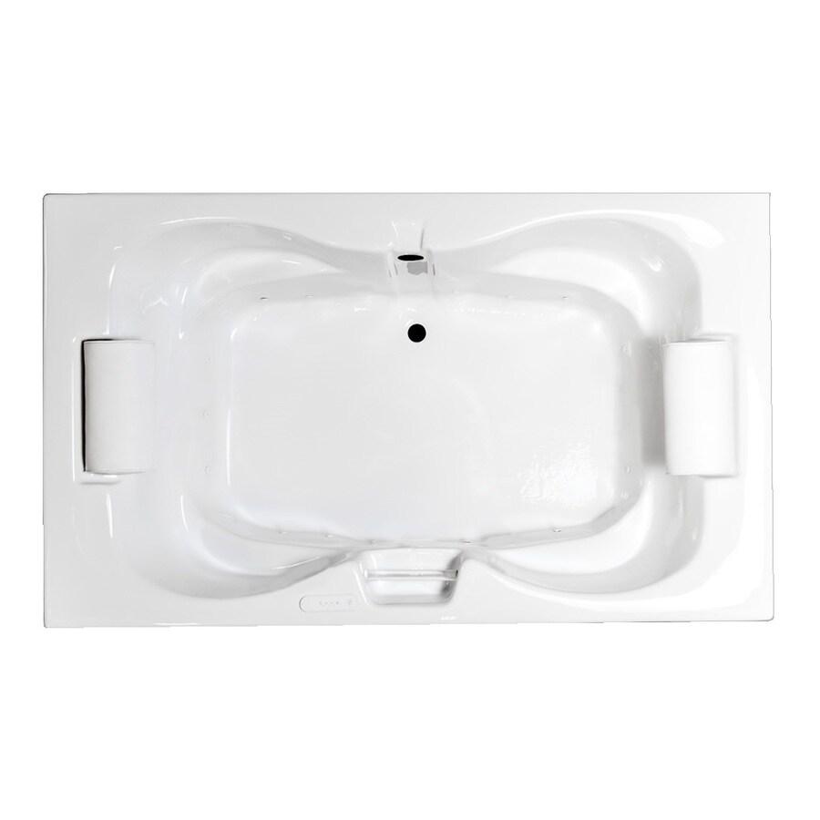 Laurel Mountain Seneca Iii White Acrylic Hourglass Drop-in Bathtub with Center Drain (Common: 48-in x 72-in; Actual: 23-in x 48-in x 72-in