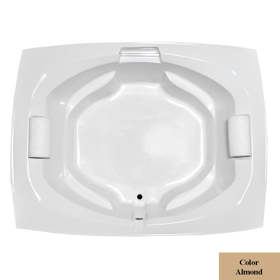 Laurel Mountain Bedford Almond Acrylic Oval In Rectangle Drop-in Bathtub with Center Drain (Common: 66-in x 81-in; Actual: 24.5-in x 63.25-in x 81-in