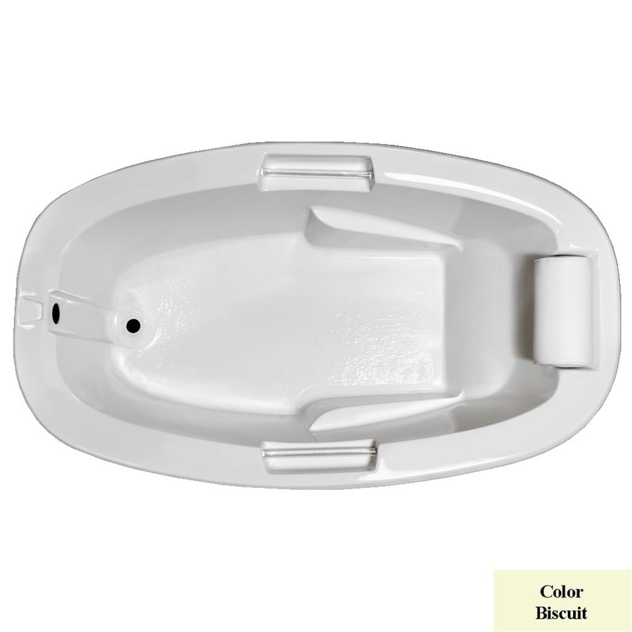 Laurel Mountain York Biscuit Acrylic Oval Drop-in Bathtub with Reversible Drain (Common: 42-in x 72-in; Actual: 23-in x 41.5-in x 72-in