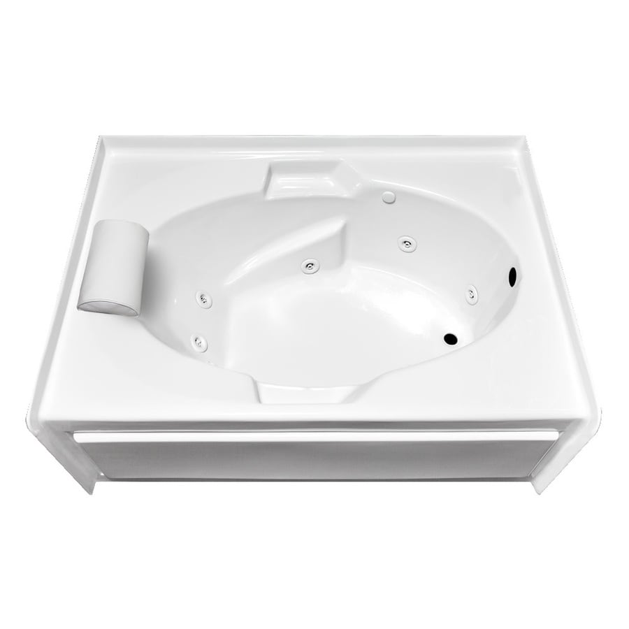 Laurel Mountain Skirted Alcove Everson V 1-Person White Acrylic Oval In Rectangle Whirlpool Tub (Common: 42-in x 60-in; Actual: 22-in x 42-in x 60-in)