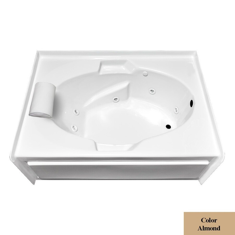 Laurel Mountain Skirted Alcove Everson V 1-Person Almond Acrylic Oval In Rectangle Whirlpool Tub (Common: 42-in x 60-in; Actual: 22-in x 42-in x 60-in)