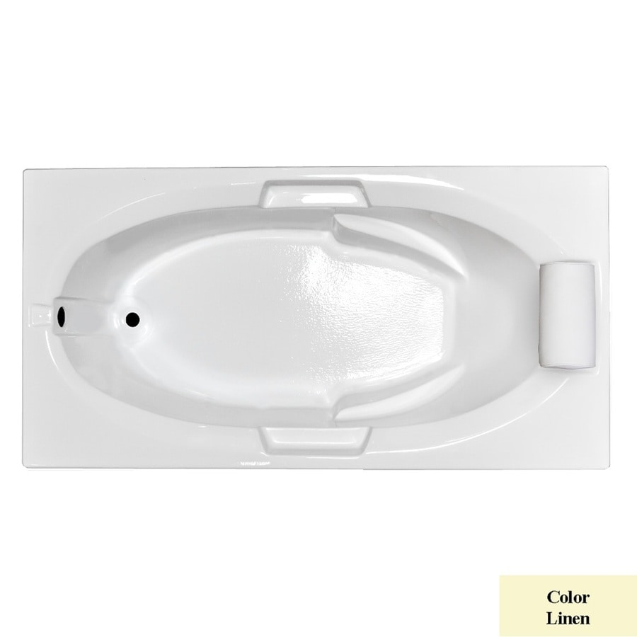 Laurel Mountain Everson Ii Linen Acrylic Oval In Rectangle Drop-in Bathtub with Reversible Drain (Common: 42-in x 72-in; Actual: 21.5-in x 42-in x 72-in