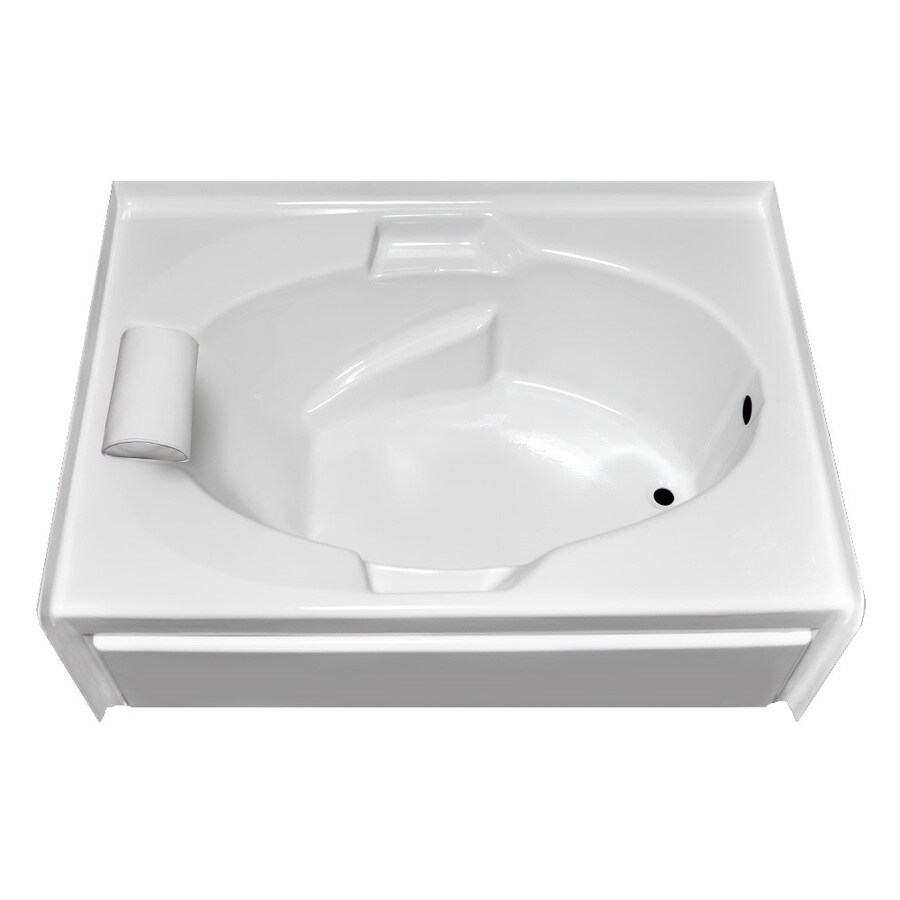 Laurel Mountain Everson V White Acrylic Oval In Rectangle Skirted Bathtub with Right-Hand Drain (Common: 42-in x 60-in; Actual: 21.5-in x 41.75-in x 59.875-in