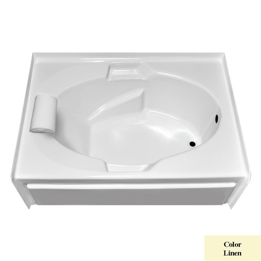 Laurel Mountain Everson V Linen Acrylic Oval In Rectangle Skirted Bathtub with Right-Hand Drain (Common: 42-in x 60-in; Actual: 21.5-in x 41.75-in x 59.875-in