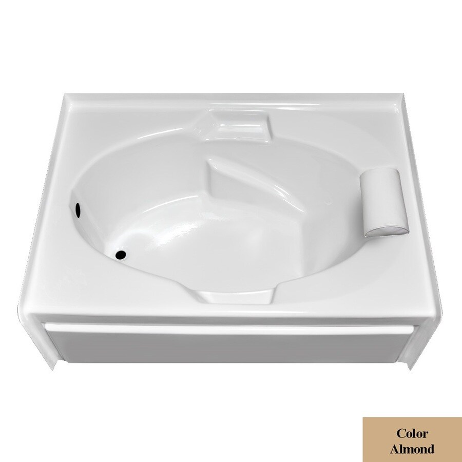 Laurel Mountain Everson V Almond Acrylic Oval In Rectangle Skirted Bathtub with Left-Hand Drain (Common: 42-in x 60-in; Actual: 21.5-in x 41.75-in x 59.875-in