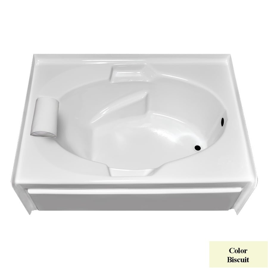 Laurel Mountain Everson Vi Biscuit Acrylic Oval In Rectangle Skirted Bathtub with Right-Hand Drain (Common: 42-in x 72-in; Actual: 21.5-in x 42-in x 71.5-in