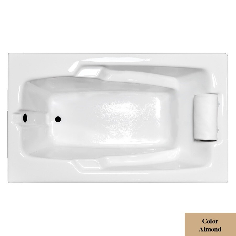 Laurel Mountain Mercer Ii Almond Acrylic Rectangular Drop-in Bathtub with Reversible Drain (Common: 36-in x 60-in; Actual: 21.5-in x 35.75-in x 59.75-in