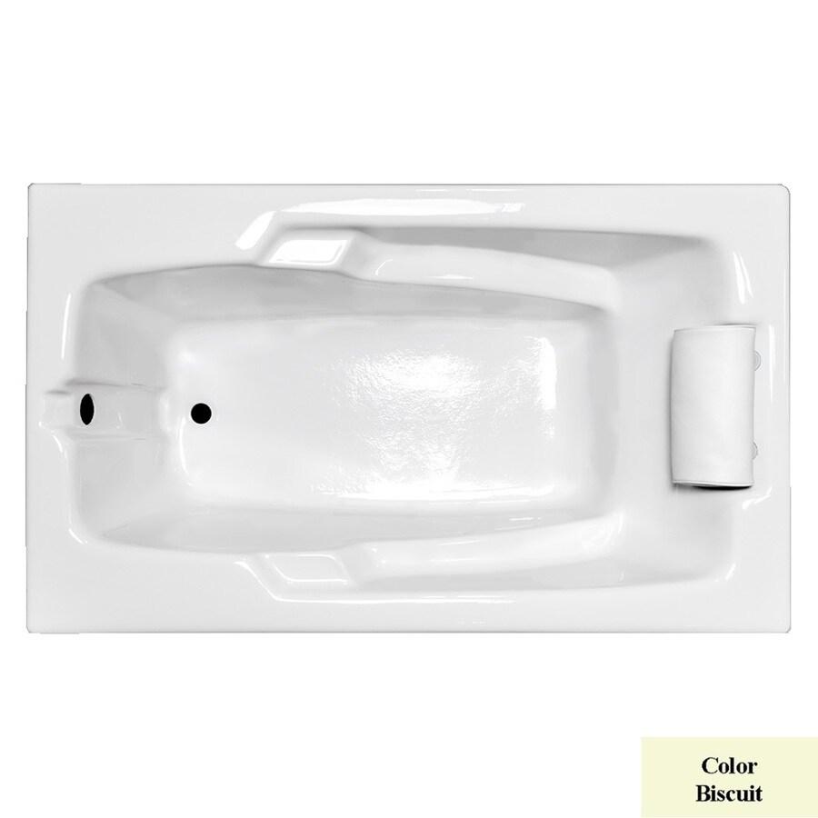 Laurel Mountain Mercer Ii Biscuit Acrylic Rectangular Drop-in Bathtub with Reversible Drain (Common: 36-in x 60-in; Actual: 21.5-in x 35.75-in x 59.75-in