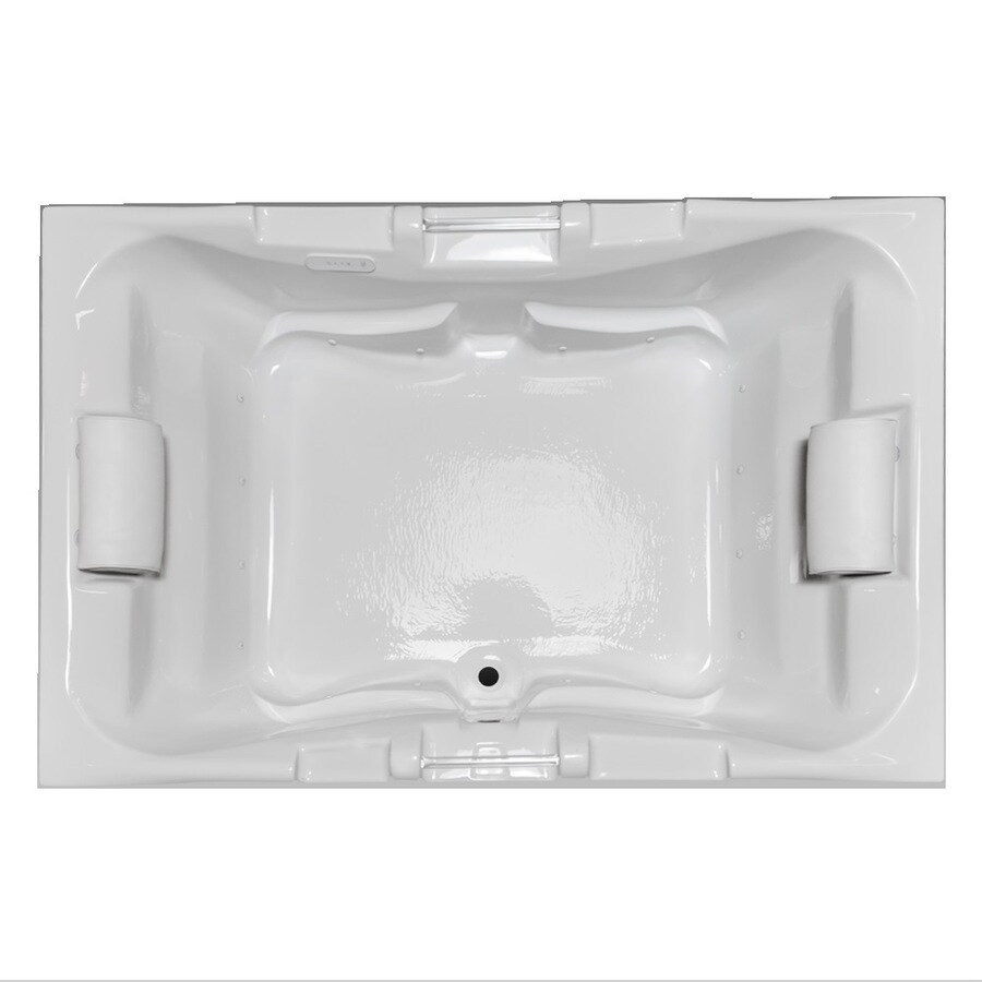 Laurel Mountain Delmont Ii 72-in L x 48-in W x 23-in H Biscuit Acrylic 2-Person-Person Rectangular Drop-in Air Bath