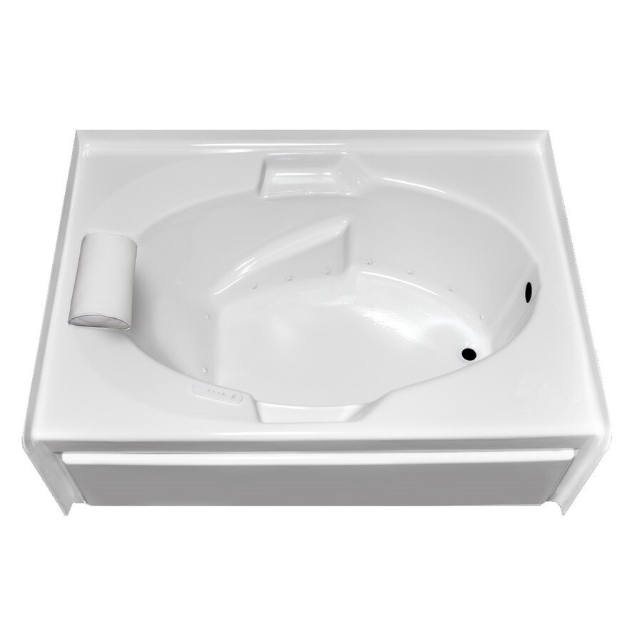 Laurel Mountain Everson V 60-in L x 42-in W x 21.5-in H White Acrylic 1-Person-Person Oval In Rectangle Alcove Air Bath