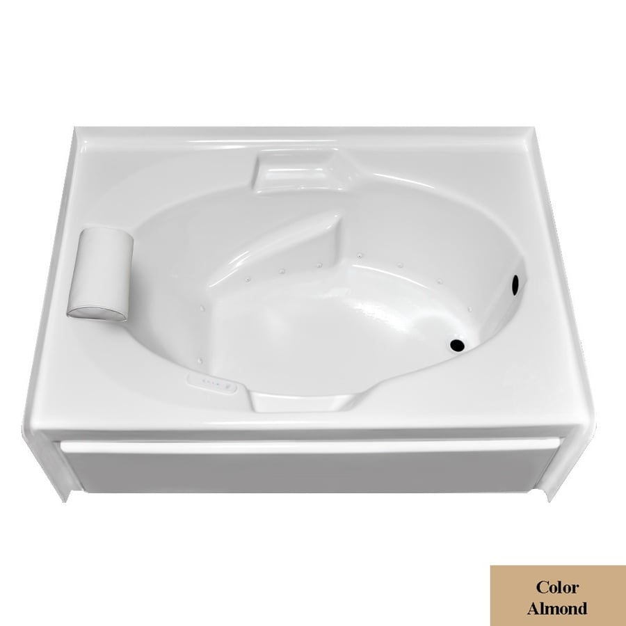 Laurel Mountain Everson V 60-in L x 42-in W x 21.5-in H Almond Acrylic 1-Person-Person Oval In Rectangle Alcove Air Bath