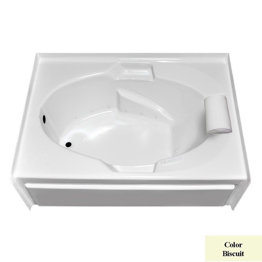Laurel Mountain Everson V 60-in L x 42-in W x 21.5-in H Biscuit Acrylic 1-Person-Person Oval In Rectangle Alcove Air Bath