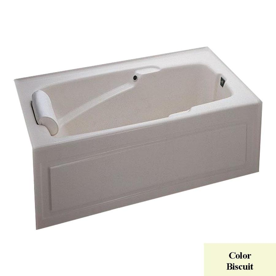 Laurel Mountain Mercer Iv 60-in L x 32-in W x 21.5-in H Biscuit Acrylic 1-Person-Person Rectangular Alcove Air Bath
