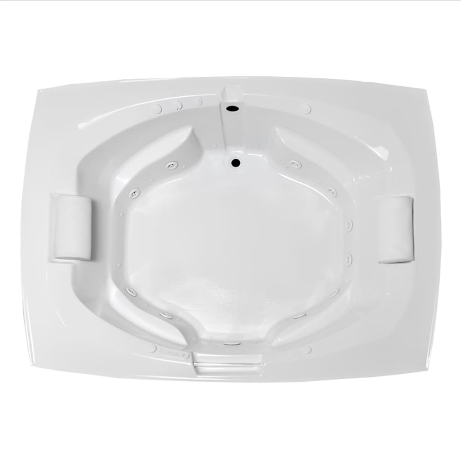 Laurel Mountain Bedford 81-in L x 63.25-in W x 24.5-in H 2-Person White Acrylic Oval In Rectangle Whirlpool Tub and Air Bath