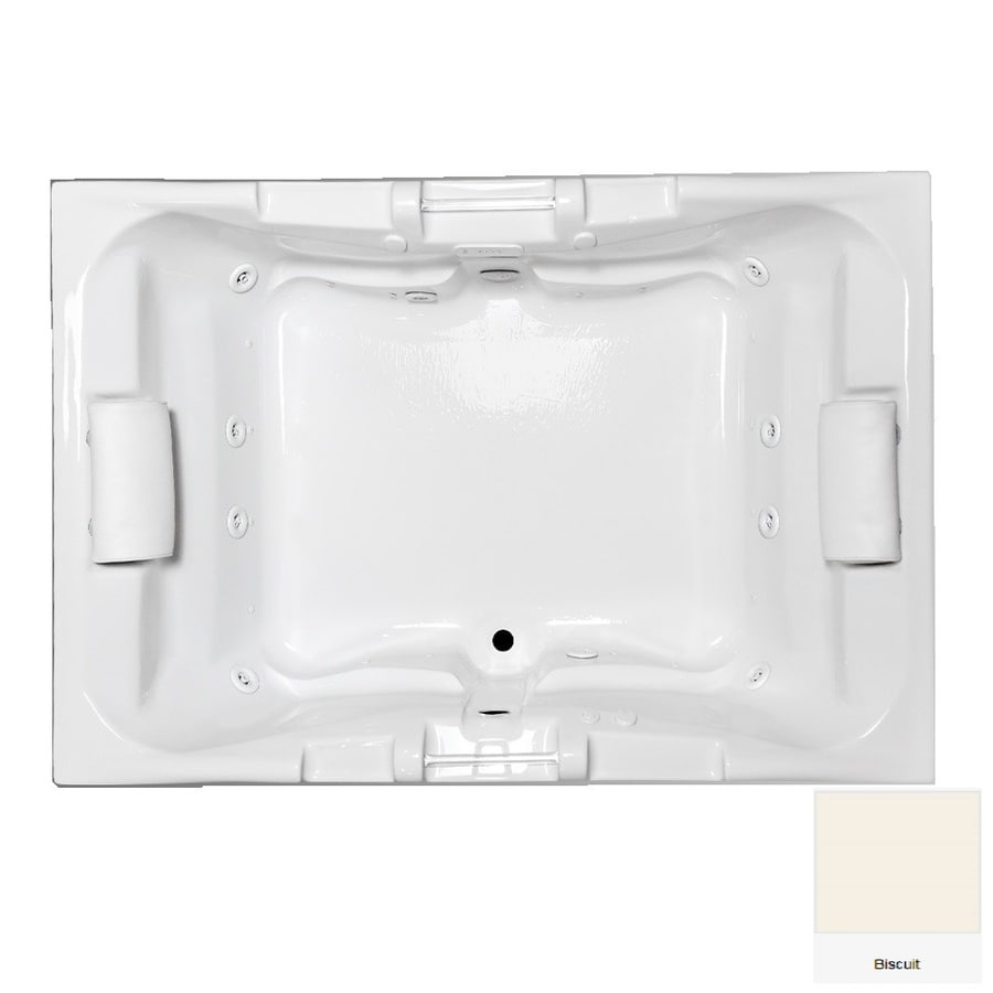 Laurel Mountain Delmont 59.625-in L x 41.75-in W x 23-in H 2-Person Biscuit Acrylic Rectangular Whirlpool Tub and Air Bath