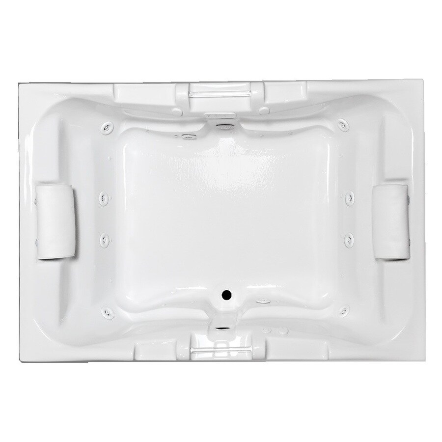 Laurel Mountain Colony Delmont II 71.25-in L x 48-in W x 23-in H 2-Person White Acrylic Rectangular Drop-In Whirlpool Tub and Air Bath