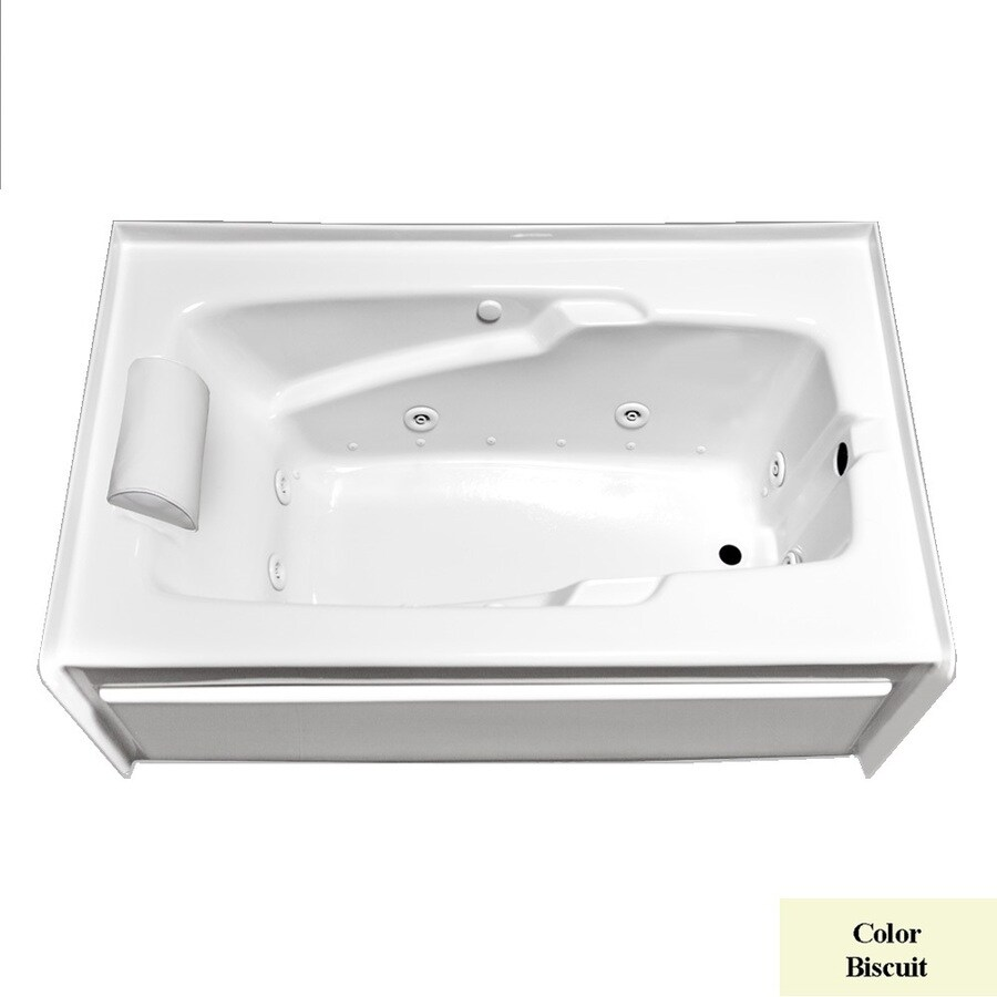 Laurel Mountain Mercer Iv 59.75-in L x 31.75-in W x 21.5-in H 1-Person Biscuit Acrylic Rectangular Whirlpool Tub and Air Bath