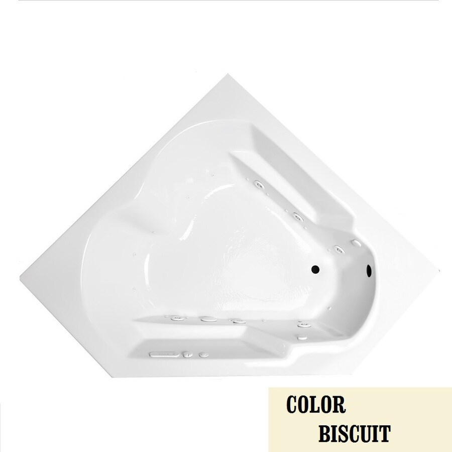 Laurel Mountain Trade Dual Corner 59.625-in L x 59.625-in W x 20-in H 2-Person Biscuit Acrylic Corner Whirlpool Tub and Air Bath