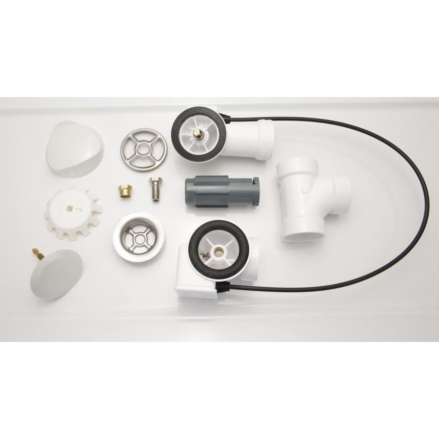 Laurel Mountain White Cable-Operated Deeper Waste and Overflow Drain Kit