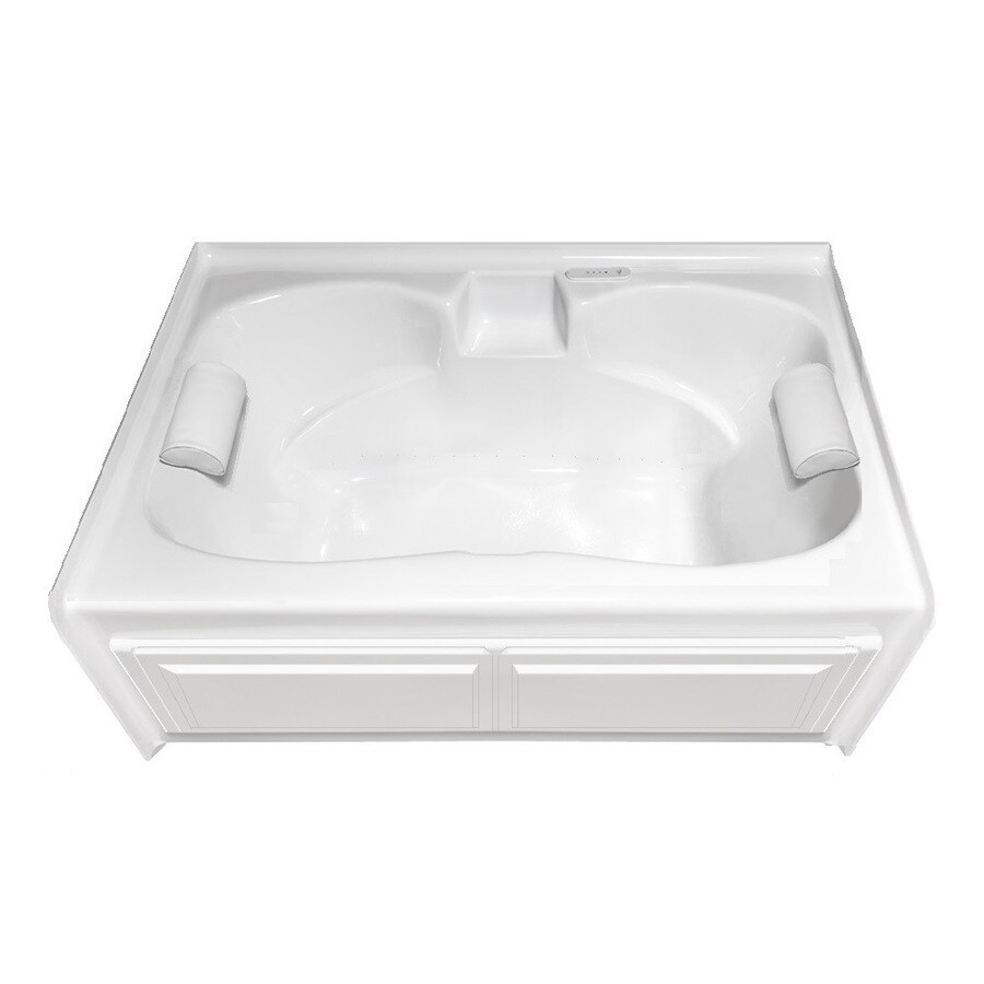 Laurel Mountain Alcove Plus 60-in L x 42-in W x 22-in H White Acrylic 2-Person-Person Hourglass In Rectangle Skirted Air Bath