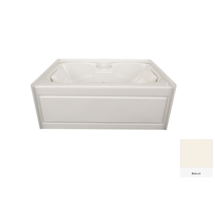 Laurel Mountain Alcove Plus Biscuit Acrylic Hourglass In Rectangle Alcove Bathtub with Center Drain (Common: 42-in x 60-in; Actual: 22-in x 41.75-in x 59.75-in