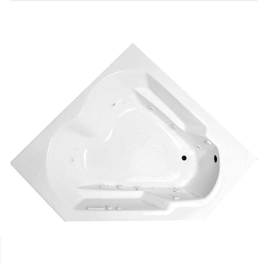 Laurel Mountain Dual Corner Plus 59.625-in L x 59.625-in W x 20-in H 2-Person White Acrylic Corner Whirlpool Tub and Air Bath
