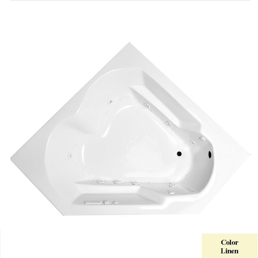 Laurel Mountain Dual Corner Plus 59.625-in L x 59.625-in W x 20-in H 2-Person Linen Acrylic Corner Whirlpool Tub and Air Bath
