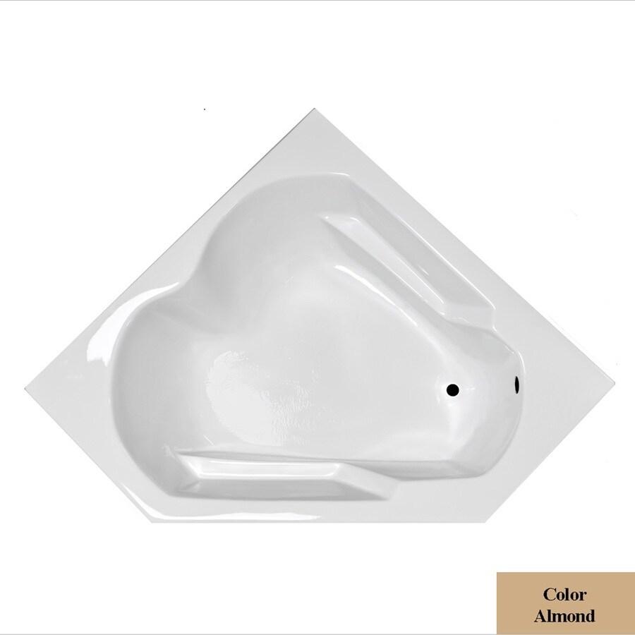 Laurel Mountain Dual Corner Plus Almond Acrylic Corner Drop-in Bathtub with Right-Hand Drain (Common: 60-in x 60-in; Actual: 20-in x 59.625-in x 59.625-in