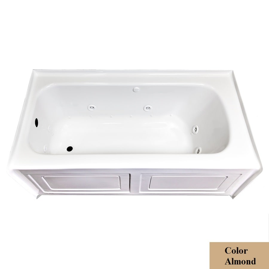 Laurel Mountain Fairhaven Iv 59.75-in L x 31.5-in W x 22.5-in H 1-Person Almond Acrylic Rectangular Whirlpool Tub and Air Bath