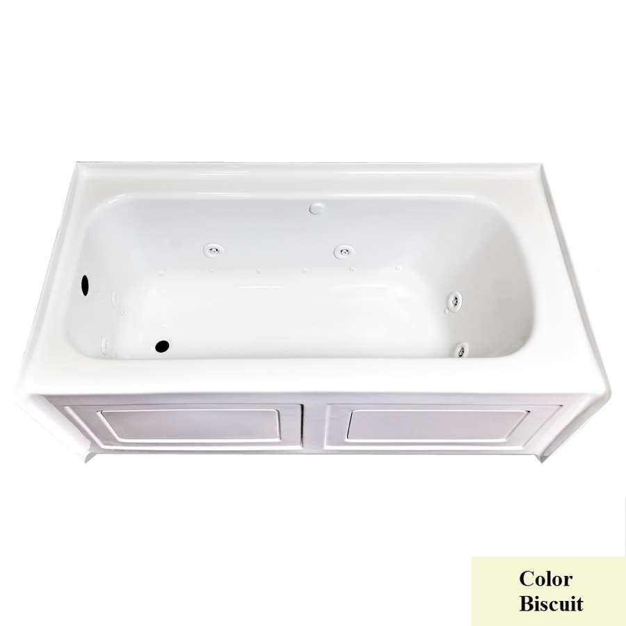 Laurel Mountain Fairhaven Iv 59.75-in L x 31.5-in W x 22.5-in H 1-Person Biscuit Acrylic Rectangular Whirlpool Tub and Air Bath