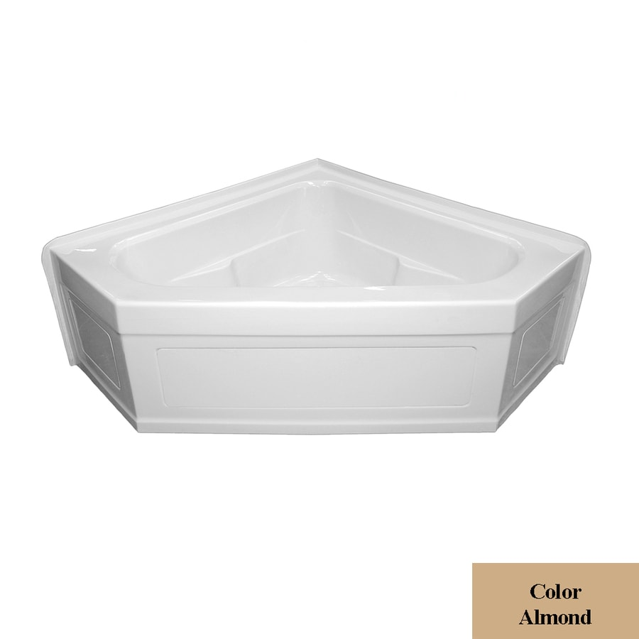Laurel Mountain Inland 59-in L x 59-in W x 22-in H 2-Person Almond Acrylic Corner Whirlpool Tub and Air Bath