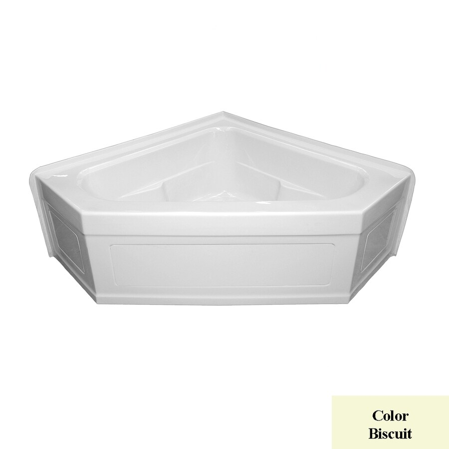 Laurel Mountain Inland 59-in L x 59-in W x 22-in H 2-Person Biscuit Acrylic Corner Whirlpool Tub and Air Bath