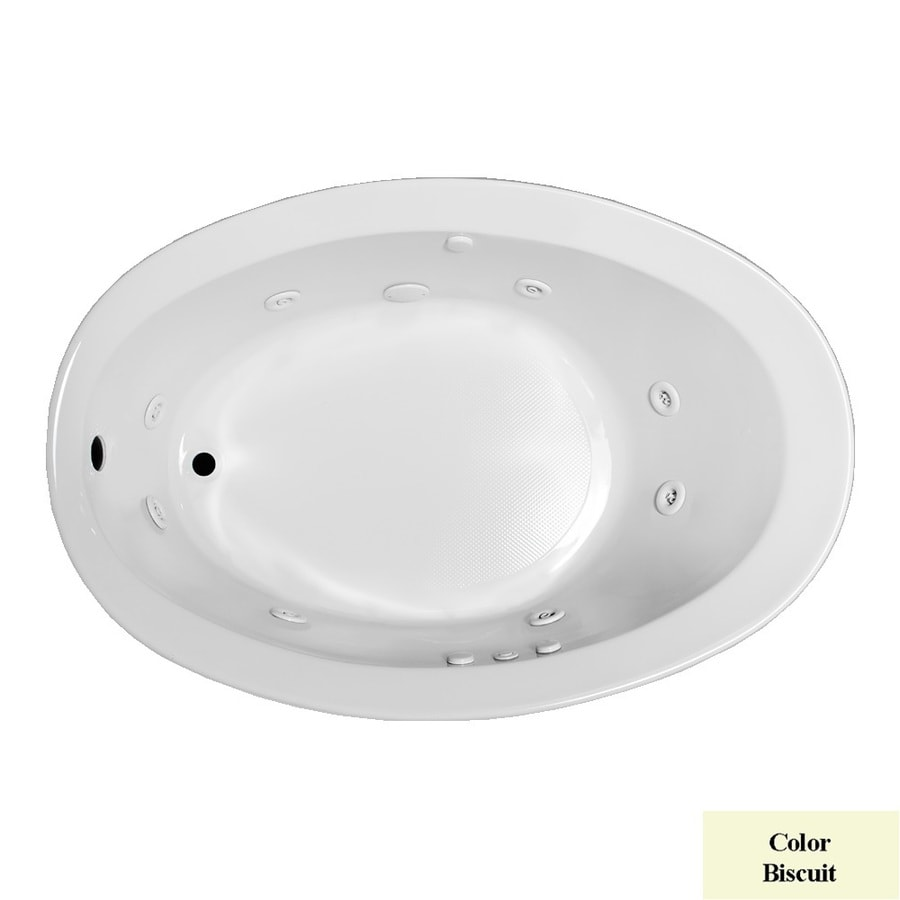 Laurel Mountain Jewel 1-Person Biscuit Acrylic Oval Whirlpool Tub (Common: 38-in x 56-in; Actual: 21-in x 38-in x 56-in)