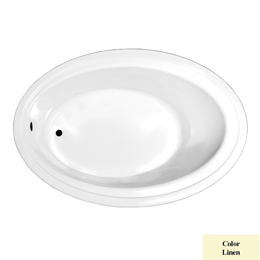 Laurel Mountain Kirby Linen Acrylic Oval Drop-in Bathtub with Reversible Drain (Common: 41-in x 60-in; Actual: 19-in x 41-in x 60-in
