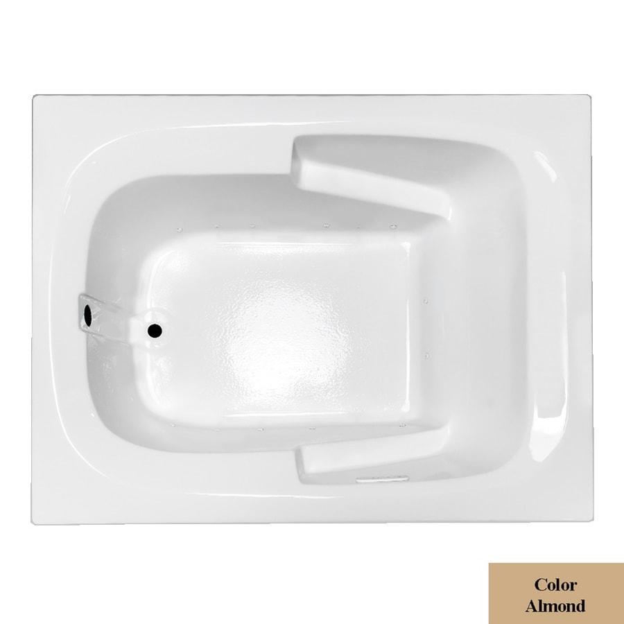 Laurel Mountain Large Plus Ii 72-in L x 48-in W x 23-in H Almond Acrylic 1-Person-Person Rectangular Drop-in Air Bath