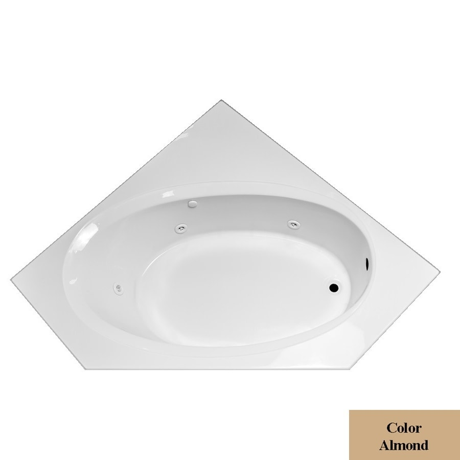 Laurel Mountain Vandale 1-Person Almond Acrylic Corner Whirlpool Tub (Common: 60-in x 60-in; Actual: 25.25-in x 59.25-in x 59.25-in)