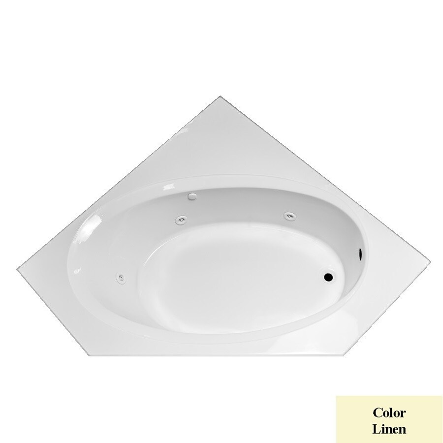 Laurel Mountain Vandale 1-Person Linen Acrylic Corner Whirlpool Tub (Common: 60-in x 60-in; Actual: 25.25-in x 59.25-in x 59.25-in)