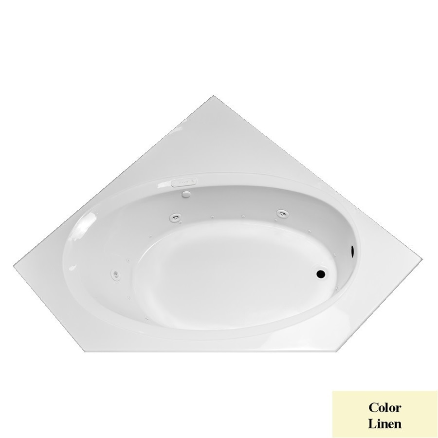 Laurel Mountain Vandale 59.25-in L x 59.25-in W x 25.25-in H 1-Person Linen Acrylic Corner Whirlpool Tub and Air Bath