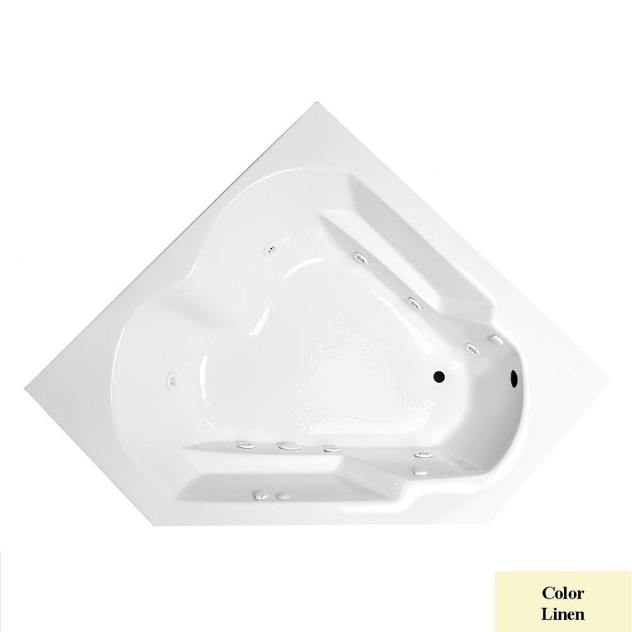 Laurel Mountain Dual Corner Right Hand Deluxe 2-Person Linen Acrylic Corner Whirlpool Tub (Common: 60-in x 60-in; Actual: 20-in x 59.625-in x 59.625-in)